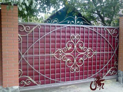 ворота откатные с профлистом