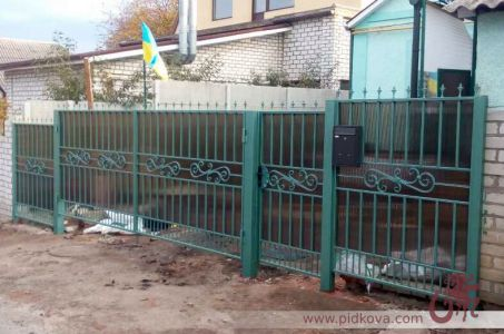 Кованые ворота, калитка и забор. Зашиты поликарбонатом.