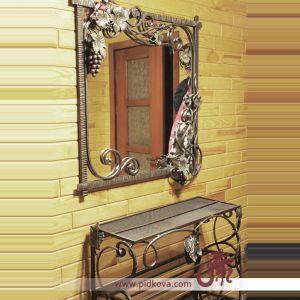 Кованое зеркало с фактурой виноградной лозы