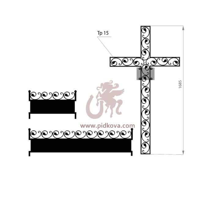 Кованый крест с гробницей 1