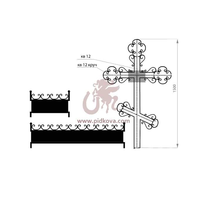 Кованый крест с гробницей 2