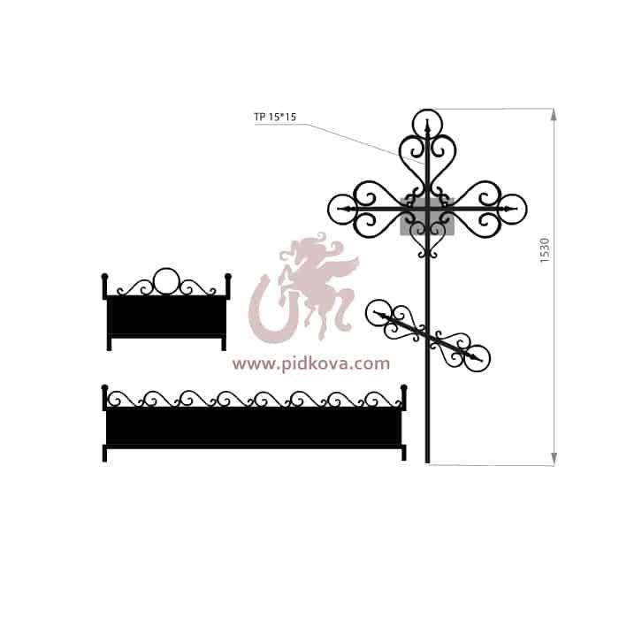 Кованый крест с гробницей 3
