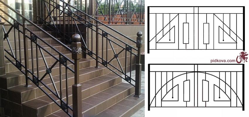 Кованые лестничные перила в стиле геометрии
