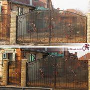 Кованые распашные ворота зашитые поликрабонатом