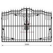 Распашные кованые ворота рэ-9