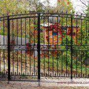 кованые ворота с калиткой внутри без зашивки