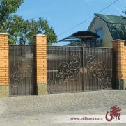 Кованые ворота зашитын поликарбонатом, ручная ковка